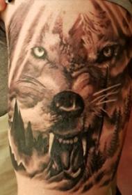 纹身风景图案  男生大臂上风景和狼纹身图片