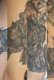 宠物狗纹身  男生手臂上黑灰的宠物狗纹身图片