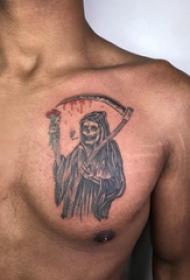 胸部纹身男 男生胸部黑色的死神镰刀纹身图片