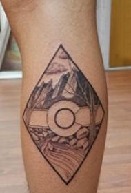 纹身风景图案  男生小腿上黑灰的纹身风景图片