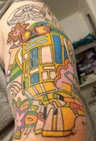 大臂紋身圖 男生大臂上花朵和機器人紋身圖片