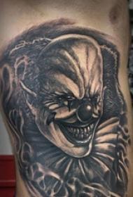 小丑纹身 男生大腿上恐怖的小丑纹身图片