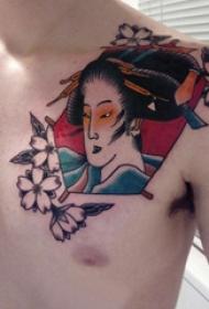 日本艺妓纹身图片 男生胸部日本艺妓纹身图片