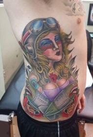人物纹身图案 男生侧肋上人物纹身图案