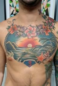 胸部纹身男 男生胸部花朵和风景纹身图片