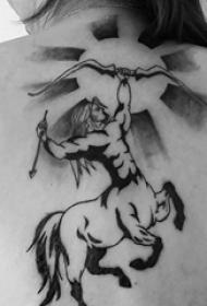 射手座纹身图案 多款小清新文艺纹身黑色射手座纹身图案