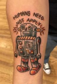 機器人紋身 男生手臂上英文和機器人紋身圖片