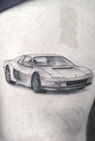 大腿纹身男 男生大腿上黑色的汽车纹身图片