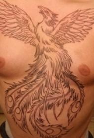 鳳凰紋身 男生胸前生動的鳳凰紋身圖片