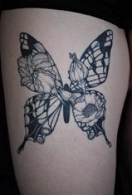 3d蝴蝶纹身 女生大腿上花朵和蝴蝶纹身图片