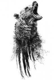 熊紋身 黑灰紋身熊紋身手稿
