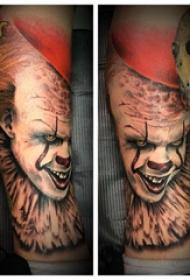 歐美小腿紋身 男生小腿上彩色的小丑紋身圖片