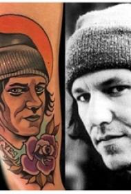 人物肖像紋身 男生手臂上人物肖像和太陽紋身圖片