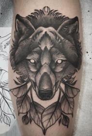 滴血狼头纹身 男生小腿上叶子和狼头纹身图片