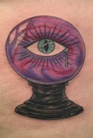 侧腰纹身图 女生侧腰上眼睛和水晶球纹身图片