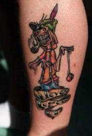 人物纹身  男生腿上搞怪的人物纹身图片