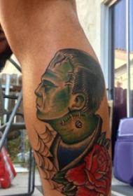 恐怖纹身 男生小腿上恐怖纹身图片
