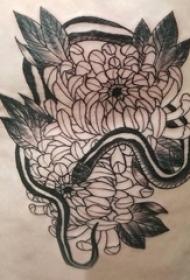 黑灰菊花纹身 女生背部黑灰菊花纹身图片