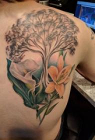植物纹身 男生背部植物纹身图片
