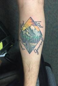 欧美小腿纹身 男生小腿上英文和山水风景纹身图片