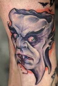 恶魔纹身简单 男生小腿上彩色的恶魔纹身图片