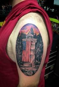 建筑物纹身  男生大臂上彩色的建筑物纹身图片