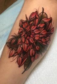 中国风花卉纹身 男生手臂上彩色的花朵纹身图片