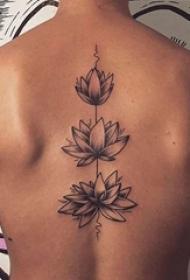 后背纹身男 男生后背上黑色的莲花纹身图片