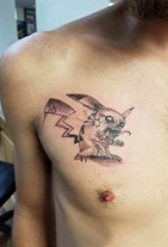 纹身胸部男 男生胸部黑色的皮卡丘纹身图片