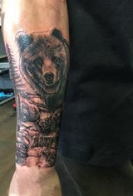 熊纹身 男生手臂上熊纹身图片