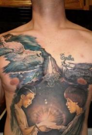 胸部纹身男 男生胸部彩色的人物纹身图片