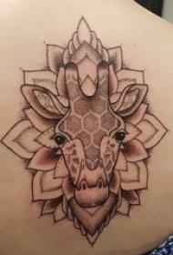 纹身后背女 女生后背上梵花和长颈鹿纹身图片