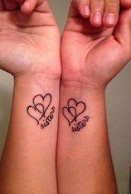 对称纹身图案 女生手腕上英文和心形对称纹身图片