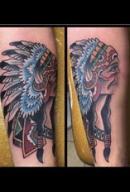 印第安人纹身  男生手臂上彩色的印第安人纹身图片