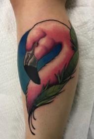 欧美小腿纹身 男生小腿上植物和小动物纹身图片
