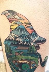 风景纹身图案 男生小腿上风景纹身图案