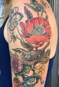 双大臂纹身  男生大臂上花朵和鸟纹身图片
