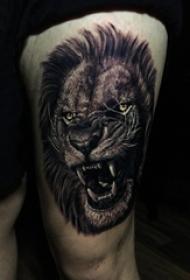 唐狮子纹身 女生大腿上唐狮子纹身图片