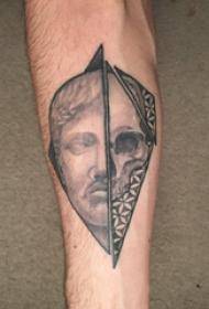 黑灰写实纹身 男生手臂上骷髅和人物拼接纹身图片