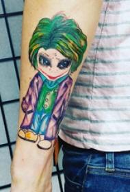 手臂紋身圖片 男生手臂上彩色的卡通小丑紋身圖片