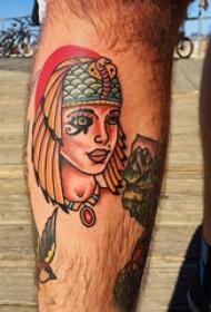 人鱼纹身  男生手臂上彩色的人鱼纹身图片