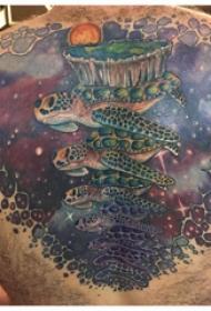 龟纹身 男生后背上彩色的乌龟纹身图片