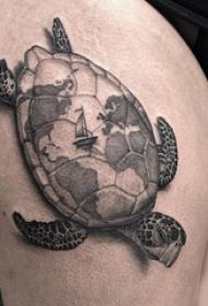 乌龟纹身图案 多款简单线条纹身黑色乌龟纹身图案