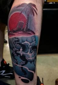 纹身骷髅 男生小腿上骷髅头纹身图片