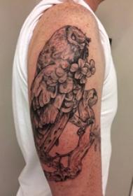 双大臂纹身 男生大臂上花朵和猫头鹰纹身图片