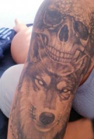 骷髏和狼紋身圖案  男生手臂上骷髏和狼紋身圖片
