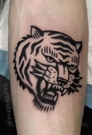 老虎头纹身图案 男生手臂上黑色的老虎头纹身图片