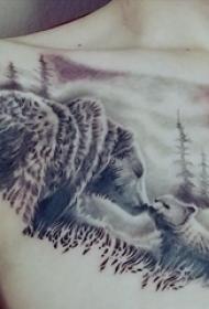 熊紋身  女生胸部熊和風景紋身圖片