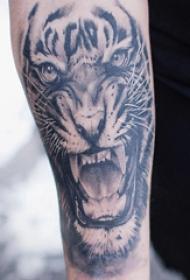 小动物纹身 男生手臂上黑色的老虎纹身图片
