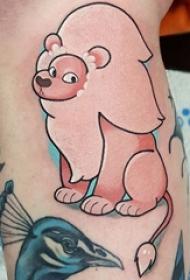 纹身卡通 女生小腿上彩色?#30446;?#36890;狮子纹身图片